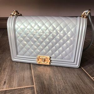 55ae6aed63b0 Chanel Patent Leather New Medium Le Boy Bag GHW